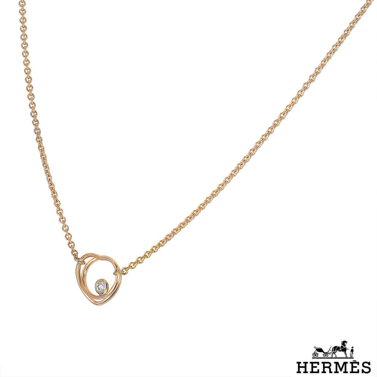 Hermès Rose Gold Diamond Vertige Coeur Necklace